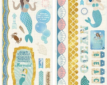 "Bo Bunny | Down By The Sea | Adhesive Chipboard Accents 6""X12"""