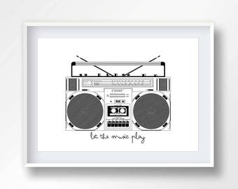 BOOMBOX poster, vintage boom box, 80s music illustration, retro stereo, old school cassete, hip hop printable, ghettoblaster, #2144