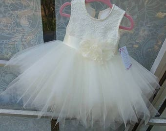 """Our """"Lilly"""" Ivory pouffy tulle skirt flower girl dress with lace ,satin sash, handmade flowers, birthday girl dress, communion , fairy dress"""