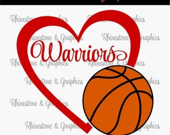 Warriors Basketball Heart Design Pattern Graphic Design Instant Download EPS SVG DXF  Cutting Files Cameo