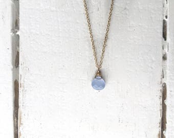 Teardrop necklace /Teardrop Necklace/ Beaded Necklace/ Gold Fill Chain