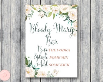 Ivory Floral Bloody Mary Bar Sign, Bubbly Bar Sign, Wedding Bar, Printable Sign, Wedding Decoration Sign, Engagement Party Mimosa TH61