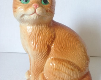 Ginger Cat, Vintage Cat Figurine, Cat Statue, Ceramic Cat, Feline, Kitty Cat, Cat Lover Gift, Cat Decor, Cat Lady Gift, Animal Ornaments