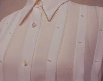 Vintage Casual Corner Sheer White Button Up Long Sleeved Blouse with Bead Embellishment
