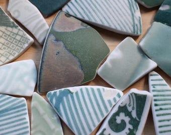 Beach Pottery Bulk, Japanese Beach Found Ceramic Shards, Green Sea Pottery Pieces, Large - XX Large, For Crafts & Beach Themed Display, 20 P