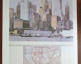 Vintage Hand Signed Christo Lithograph Two Lower Manhattan Wrapped Buildings Project For New York City Print Original 1985