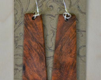 Amboyna Burl dangle handmade earrings