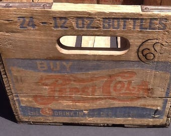 Old Pepsi Crate, Vintage Wood Crate 1940s, 5 Cent Drink in the Big Bottle, Two Dot Pepsi