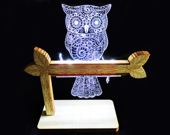 LED desk lamp, Owl on a branch, ornate owl lamp, Custom lamp, Personalised lamp, Cute owl light