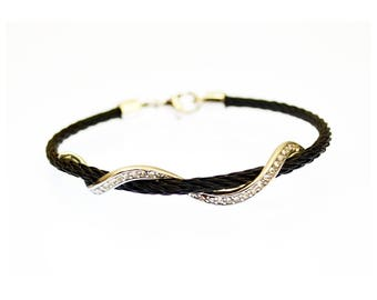 Stackable Twisted Stainless Steel Cable Bangle Bracelet - Serpente