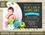 Monster Birthday Invitation, Monster Invitation, Monster Birthday Party, Monster 1st Birthday, Invite, Little Monster, KEVIN, DIGITAL FILE