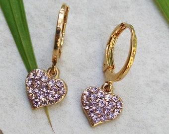 Heart earrings, Girlfriend Jewelry, Purple Earrings, Swarovski Heart Earrings, Bridesmaids Jewelry, Gift For Woman, Delicate Earrings