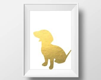 Gold Foil Dachshund Print, Dachshund Print, Dachshund art, Dog decor, Dog lover gift, Dachshund Wall Art