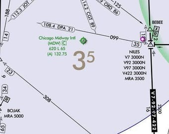 Chicago Illinois Aviation chart greeting cards. Blank Airplane maps. Pilot Jeppesen route. Airline and travel gifts wanderlust friends.