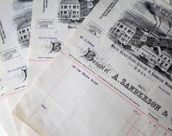 Antique Paper invoices. Paper Ephemera. Antique paper.