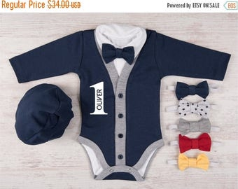 LATE SHIP SALE 1st Birthday Boy Outfit,  Personalized Navy Cardigan, Bodysuit, Hat & Bow Tie Set, First Birthday Photo Props, One Year Old B