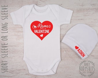 1st valentines day outfit mamas valentine heart bodysuit personalized hat set first valentines - Valentines Baby Outfit