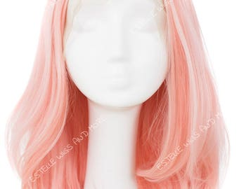 Light Pink /Peach/Rose Gold  Shoulder Lenght Angled  Layered Bob with 4.5inches Middle Partlace Front Wig