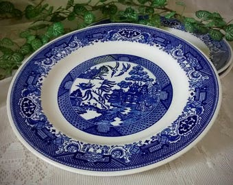 Blue Willow 3 Vintage Dinner Plates Marked Willow Ware by Royal China Royal-Ironstone