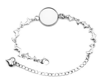 12mm Bezel, Hypoallergenic Stainless Steel Cabochon Bracelet, DIY Charm Bracelets, Link Chain Lobster Claps, Dolphin