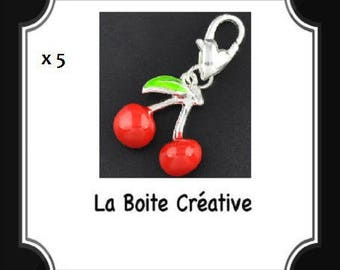 5 charms form of cherry in in enamel EPOXY PENDANT BEAD red and silver 16 mm