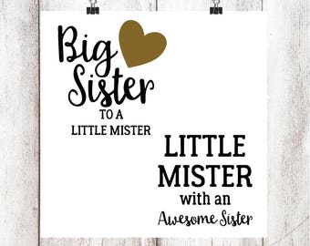 Big Sister to a Little Mister, Little Mister with an Awesome Sister SVG/DXF/EPS file set of 2