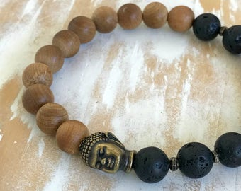 Rosewood and Lava Essential Oil Diffuser Bracelet|Black Lava Stretch Bracelet|Pink Rosewood Bead Bracelet|Antique Brass Buddha Head Charm