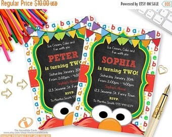 50% OFF SALE Elmo Invitation, Sesame Street Invitation, Chalkboard, Sesame Street, Second Birthday, 2nd Birthday, Printable Invitation