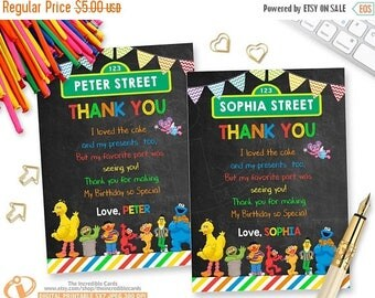 OFF SALE Sesame Street, Thank you card, Sesame Street Thank You Card, Elmo Thank you card, Cookie Monster Thank you card, Printable, DIY
