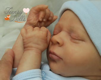 Reborn doll, Reborn baby, Lifelike doll, Painted hair, LE Thomas Asleep Realborn kit by Bountiful Baby for sale.