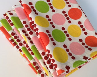 Modern Polka Dot Summer, 12x12 Cotton Cloth Napkins, Set of 6