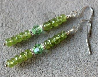Peridot Earrings, Olivine Earrings, Green Bead Earrings, Stick Earrings, Green Crystal Earrings, Olive Green Gemstone Earrings, Peridot
