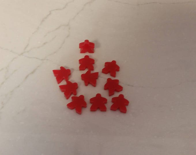 Red Meeples for our 2018 10 x 10 Board Game Challenge Plaque