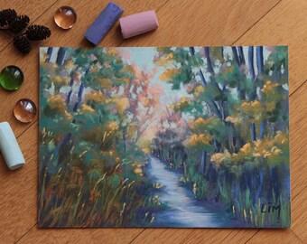 Peinture au pastel sec d 39 un paysage rivi re cascade dans - Peinture au pastel sec ...