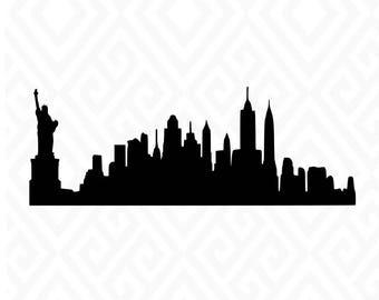 New York City Skyline Silhouette; SVG, Studio 3, DXF, AI. Ps, and Pdf, Eps Cutting Files for Electronic Cutting Machines