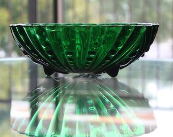 Green Anchor Hocking Bubble/Swirl Glass Bowl