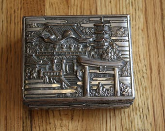 Antique Pagoda Silver Plated Trinket Box