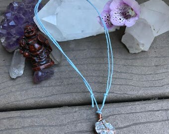 Necklace- Raw Agate with Adjustable Hemo Cord