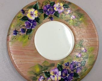 Small Cheeseboard or Trivit Painted with Violets