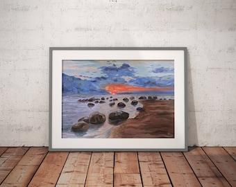 Original oil painting   Sunset over Gulf of Riga