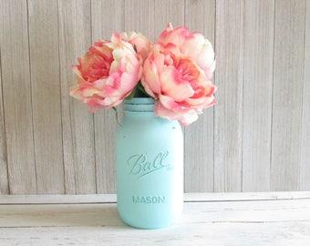 Painted Mason Jar - Quart Mint Blue Mason Jar - Wedding Centerpiece - Mint Flower Vase - Mason Jar Decor