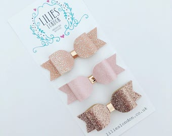 Light pink and rose gold hair bows
