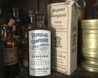 Antique Indigestion Quack Medicine To Be Drank from a Wine Glass! Pepsolac Compound Dyspepsia J. V. Hale Co. Bottle Paper Label Contents