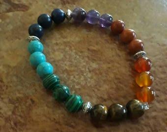Gemstones natural 7 chakra bracelet