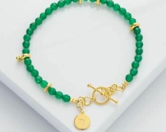 Green agate and gold personalised bracelet, women's gemstone bracelet, initial jewellery, personalised jewellery, women's gift, friendship.