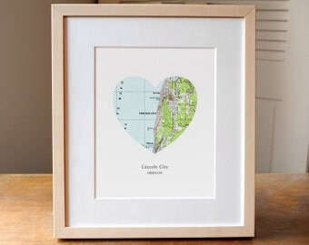 Lincoln City Oregon Heart Map Print, Small Town Map Art, Hometown Map Gift, Heart Map Print, Gift for Friend, Anniversary gift