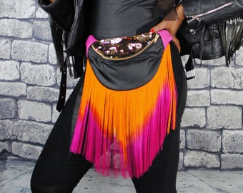 TEQUILA SUNSET black front rainbow sequin lid, reclaimed pink leather. bumbag fannypack. Ombre long fringe.