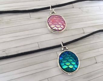 Mermaid Choker, Chokers, Mermaid Scale Chokers, Gift for Her, Gift for Him, Birthday Gift, Alternative Chokers, Gift for Friend