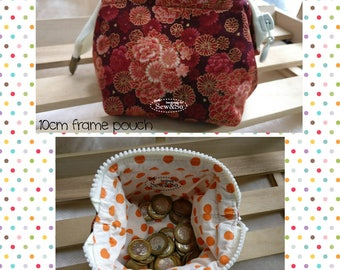 Frame Pouch 10cm - orang Flowers