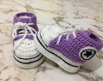 Converse All Star Crochet Baby Booties, Baby girl Booties, Baby boy booties, Baby Shower Gift, Baby Shoes
